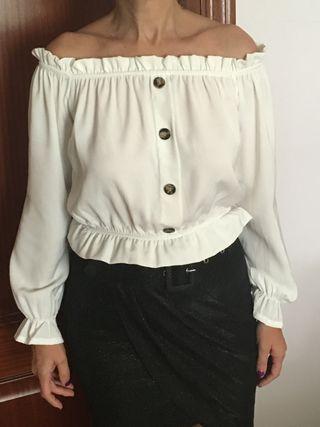 Top blanco manga larga