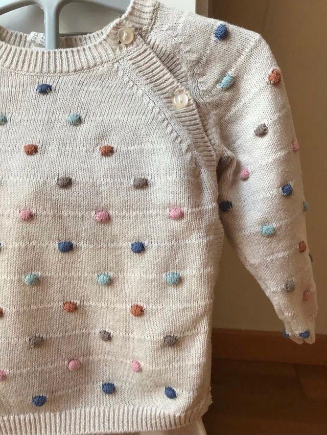 Conjunto de punto jersey y pantalón 3-6 meses