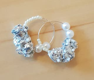 Sliver Hoop Earrings Ribbon Pearls Handcrafted
