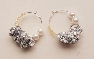 Sliver Hoop Earrings Ribbon Pearls Handcrafted