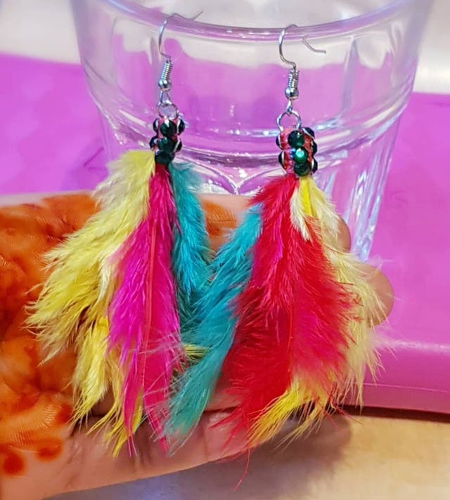 Feather Wings Drop Danlge Earrings Handcrafted New