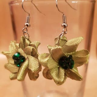 Green Flower Stud Drop Danlge Earrings Handcr New