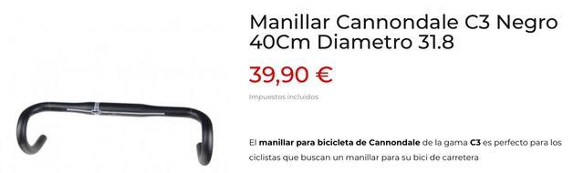 Manillar carretera Cannondale C3 A ESTRENAR NUEVO!