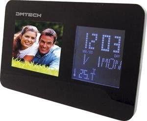 Marco digital con reloj tiempo alarma radio fm