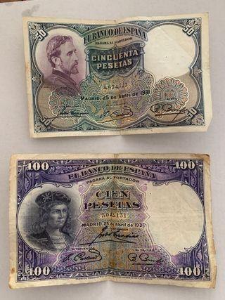 Lote de billetes pesetas