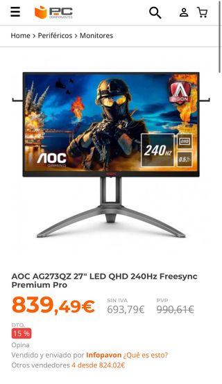 "Monitor AOC 27"" QHD 240Hz"