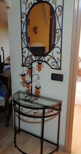 Espejo y Mesa en hierro forjado color negro con de