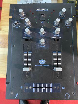 Mesa de mezclas de 2 canales con USB