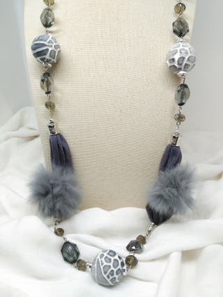 Collar Trapillo Cebra gris