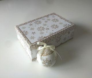 Caja 6 Bolas Navidad Blancas/Oro NUEVA