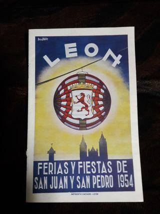 PROGRAMA FERIAS Y FIESTAS DE LEÓN 1954