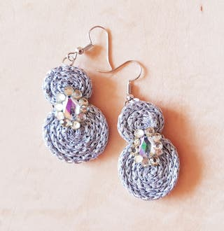 New Silver Lace Stud Drops Danlge Earrings