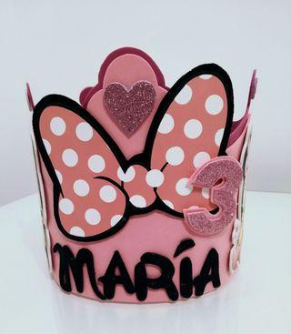 corona cumpleaños Minnie personalizadas