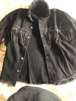 Camisa flecos negra zara