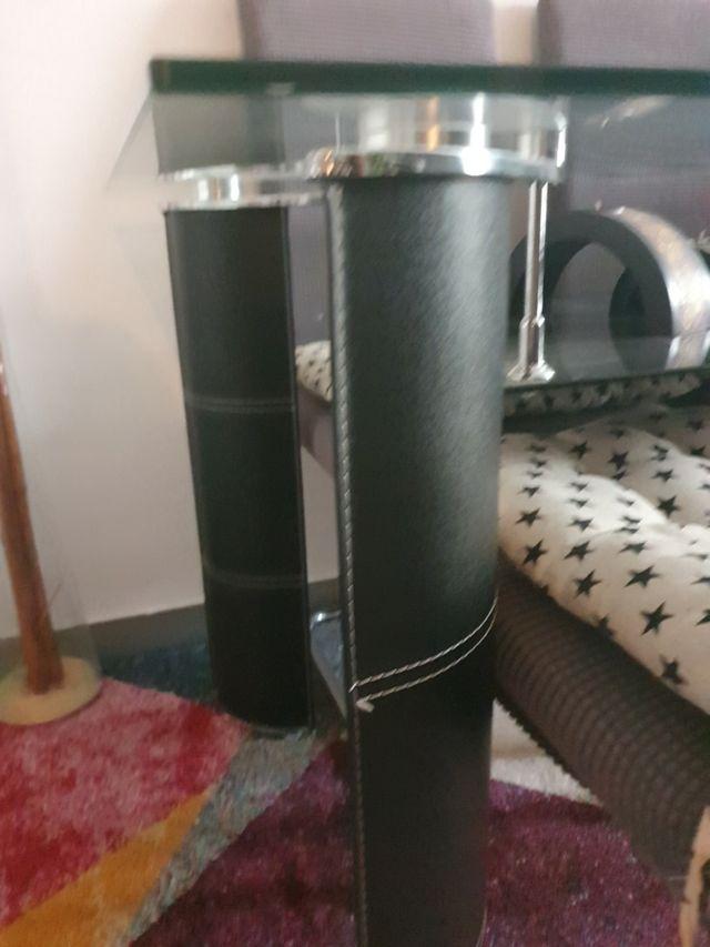 Mesa luxury de cristal para comedor patas forradas