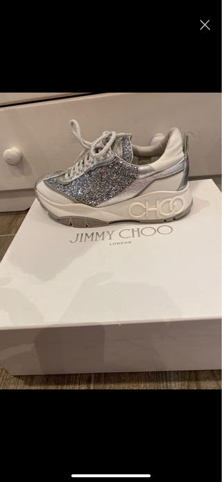 Jimmy Choo Authentic White Glitter Chunky Trainers