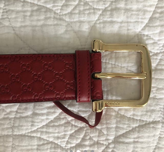 Authentic Gucci 'GG' Signature Red Leather Belt