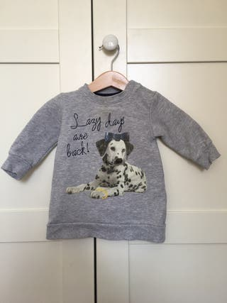 Jersey niña gris con perro, talla 68, 6 meses