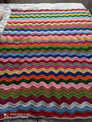 Manta zigzag crochet-ganchillo