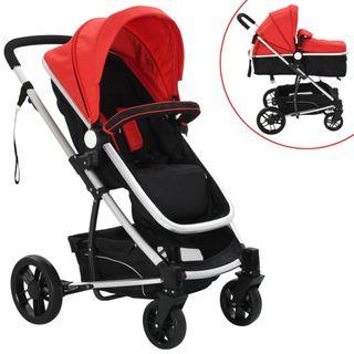 Cochecito/Silla de bebé 2-en-1 aluminio rojo y ne