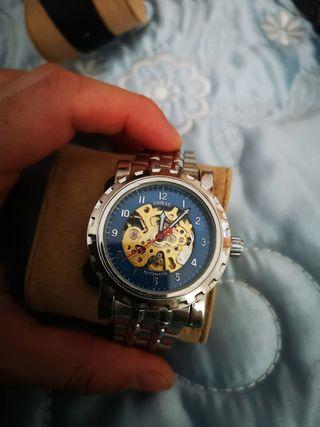 reloj hombre analógico acero inoxidable esqueleto