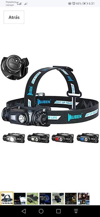 WUBEN H1 Linterna Frontal LED USB Recargable 1200