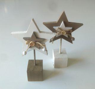 """2 Estrellas Madera """"Xmas"""" NUEVAS"""