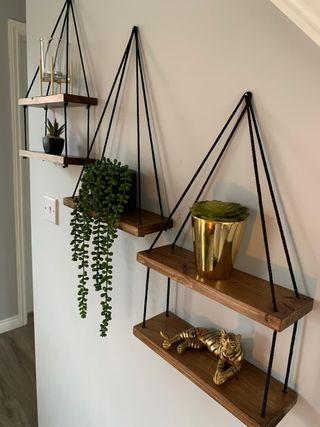 Handmade wooden hanging shelves