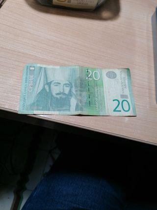 billete de 20 dinar Serbio