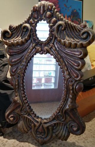 Espejo vintage forma cornucopia en madera