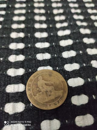 Moneda 10 Céntimo de Peseta 1870 Cobre