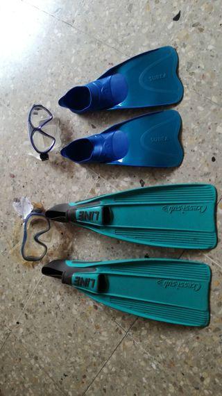 Aletas y gafas de buzo