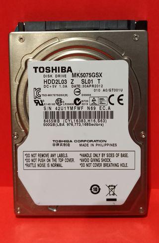 """Disco duro 500 Gb 2,5 """"conexión SATA para portatil"""