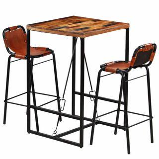 Set muebles bar 3 piezas madera maciza reciclada