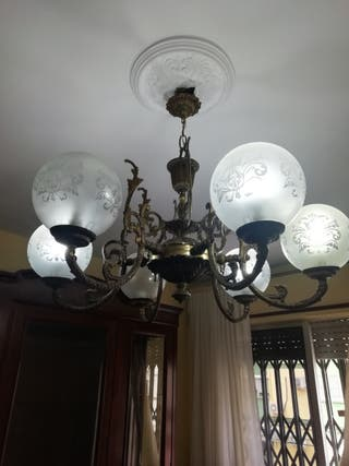 Lámpara de techo de bronce 6 brazos