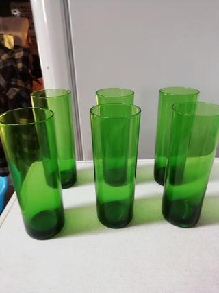 6 vasos de tubo verdes vintage