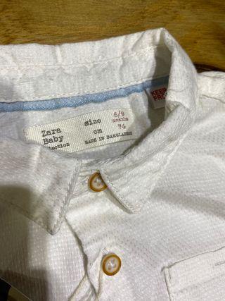 Talla 6-9 meses, Camisa blanca Zara, bebé niño