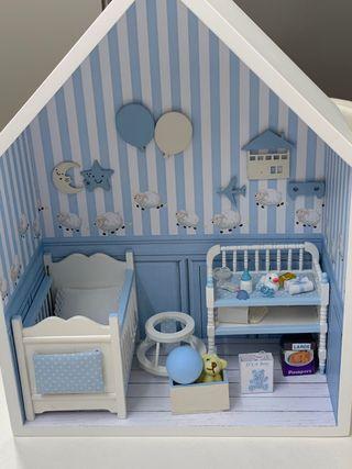 Escena diorama de bebé miniatura escala 1:12