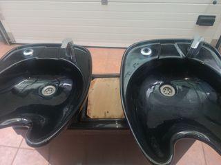 lava cabezas doble y secador de pared.
