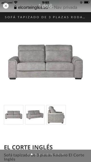 Sofa gris plata 2 metros con transporte