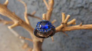Anillo Oro Negro Llenado Zafiros Azules
