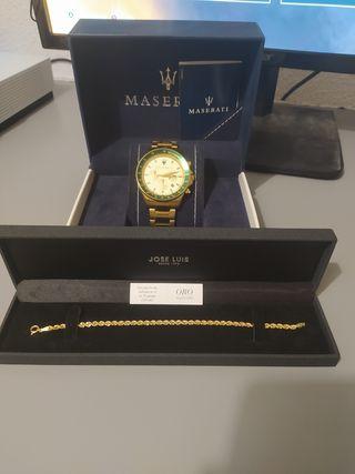 reloj Maserati y pulsera de oro de 18 kilates