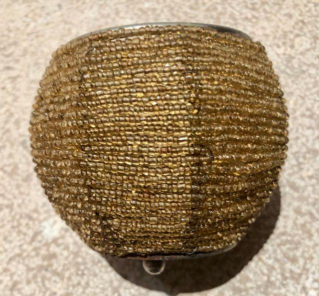 Photophore métal et perles ambrées