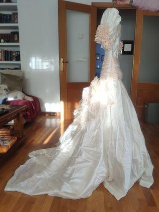 Vestido novia de tela Shantung