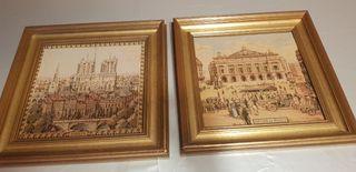 Dos tapices enmarcados de París.