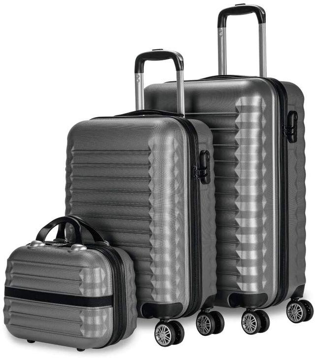 Juego de maletas y neceser material rígido gris