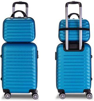 Juego de maletas y neceser material rígido azul.