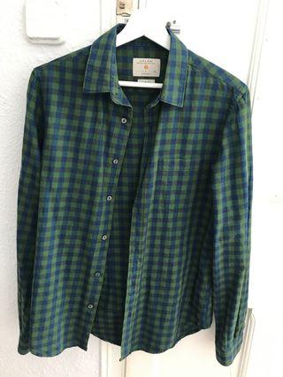 Camisa cuadros verdes hombre Zara