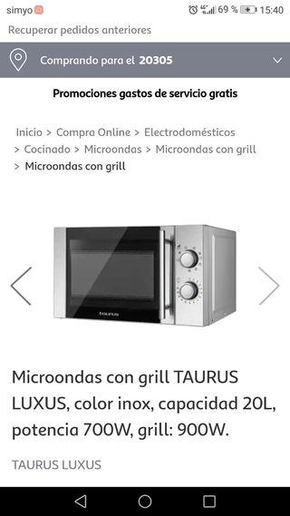 Microondas con grill Taurus Luxus