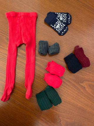 Lote calcetines leotardos bebé 1 año